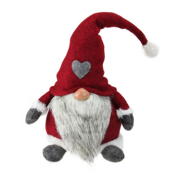 "18"" Traditional Christmas Santa Gnome with Red Heart Hat and White Faux Fur Trim"