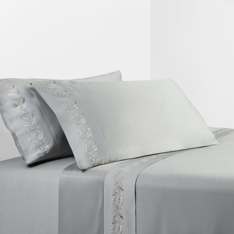 350 TC Gray Sheet Set with Gray Scroll Embroidery