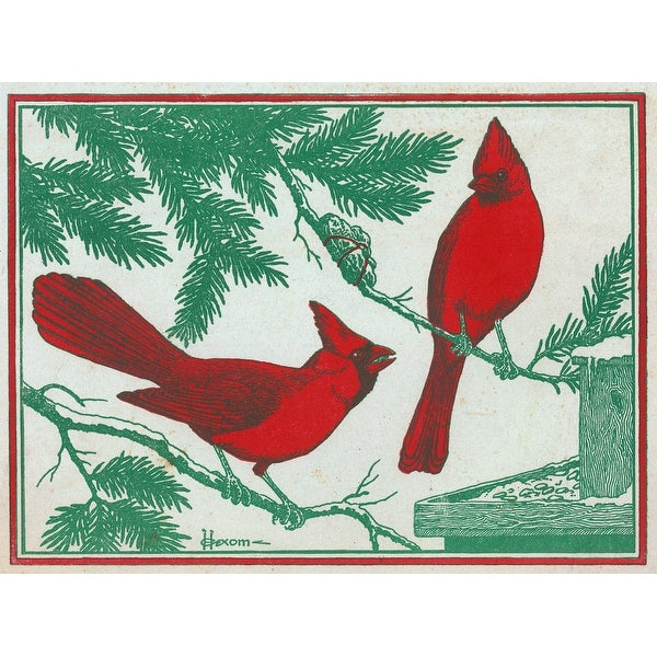 Nature Magazine - 2 Cardinal Birds - Vintage Cover (100% Cotton Towel Absorbent)