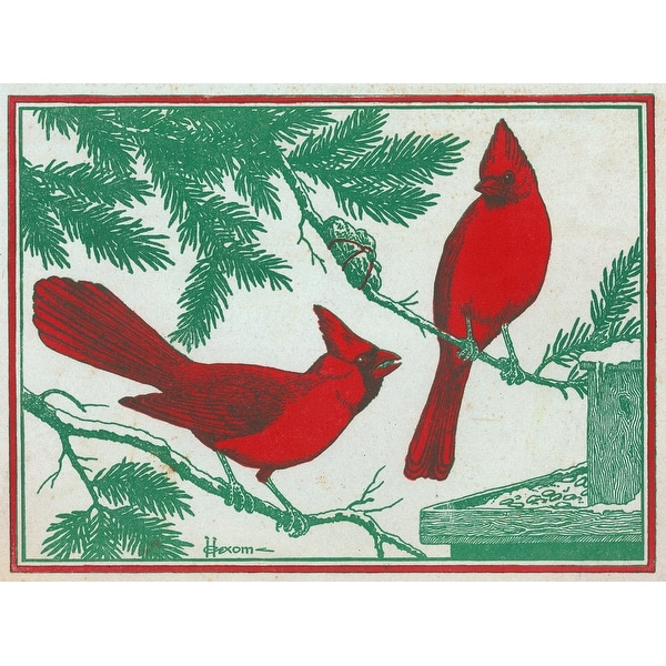 Nature Magazine - 2 Cardinal Birds - Vintage Cover (100% Cotton Towel Absorbent)