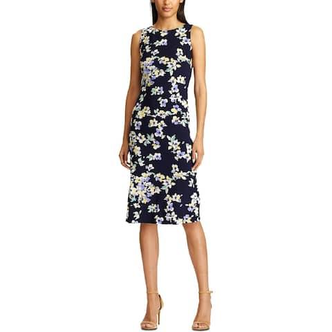 American Living Womens Kona Sheath Dress Floral Print Sleeveless - Midnight/Green/Multi