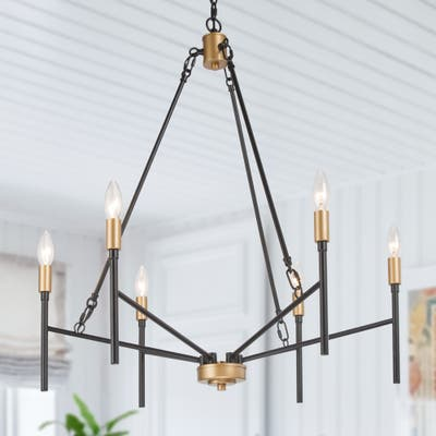 "Modern Black Gold 6-Light Simple Metal Candle Chandelier - D26.8"" x H30"""