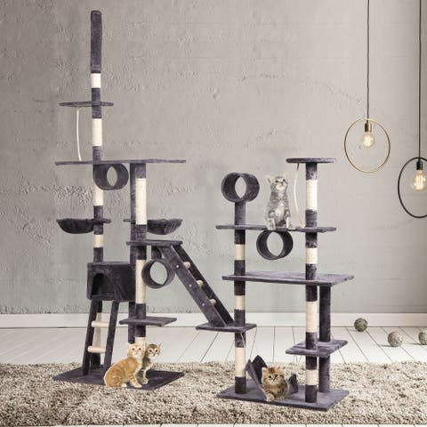 Large Deluxe Cat Tree Multilevel Activity Condo W/ Hammock Scratching