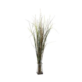 Nearly Natural Grass & Bamboo with Glass Vase Silk Plant Green