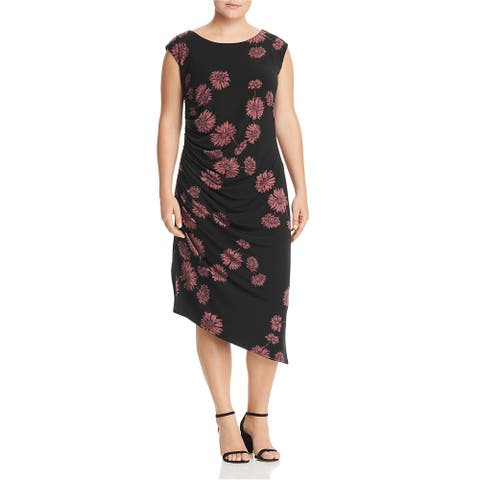 Vince Camuto Womens Floral Ruched Bodycon Dress, black, 1X