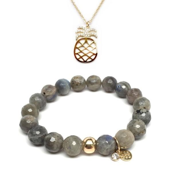 Grey Labradorite Bracelet & CZ Pineapple Gold Charm Necklace Set