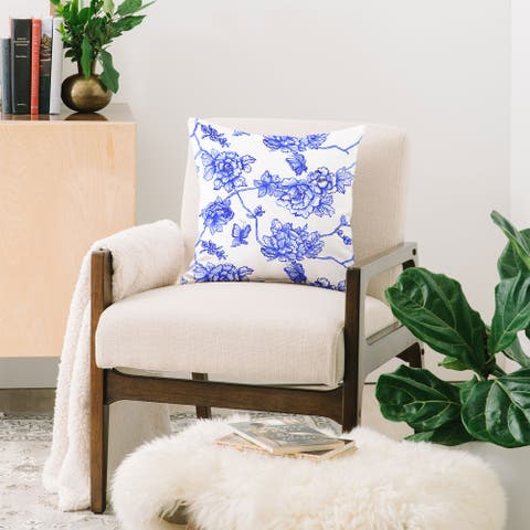 Deny Designs Blue Stencil Floral Reversible Throw Pillow (4 Size Options)