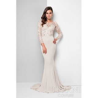 Long-Sleeved Beaded Lace Sheath