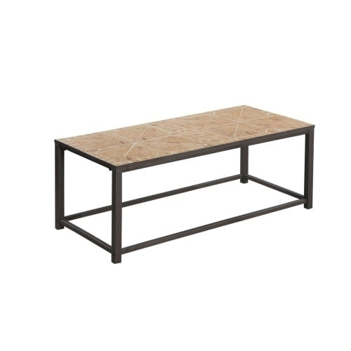 Monarch Specialties I 3160 42 Inch Wide Tile Top Metal Coffee Table