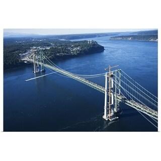 """Aerial view of Narrows Bridge, Tacoma, Washington"" Poster Print"