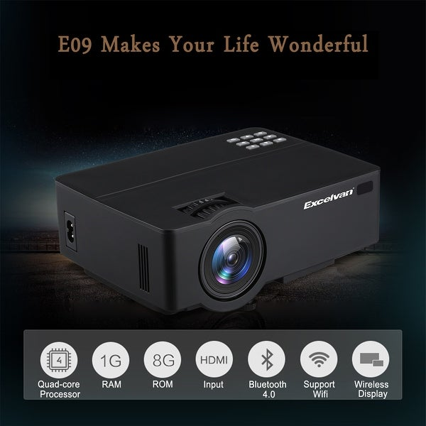 4K Projector 8GB Android 6.0 Home Theater Wifi Bluetooth HDMI//USB//AV Multimedia