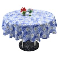 Unique Bargains Home Picnic Round Daisy Pattern Oil-proof Tablecloth Table Cloth Cover Blue 60""