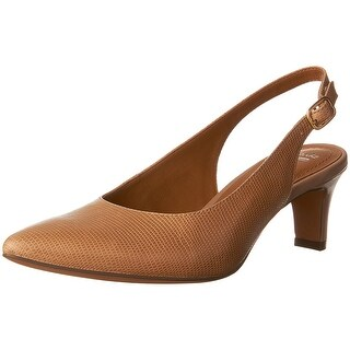 CLARKS Womens Crewso Riley Leather Pointed Toe SlingBack Classic Pumps