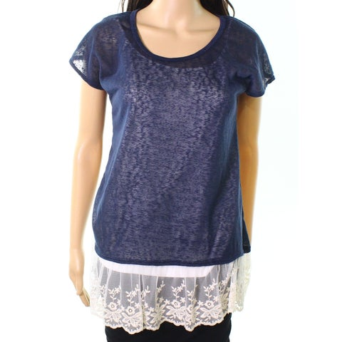 Moa Moa Navy Womens Medium Embroidered-Mesh Sheer Knit Top
