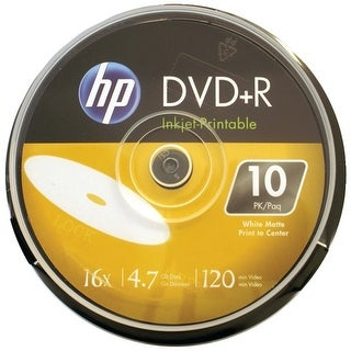 Hp Dr16Wijh010Cb 4.7Gb 16X Printable Dvd+Rs, 10-Ct Cake Box Spindle
