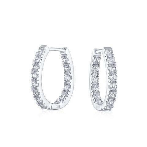Bridal Oval shape Inside Out Channel Set CZ Small Hoop Earrings of Women Cubic Zirconia 925 Sterling Silver .60 Inch Dia
