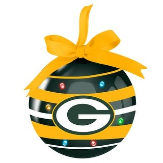 """Green Bay Packers Striped LED 3"""" Ball Ornament"""
