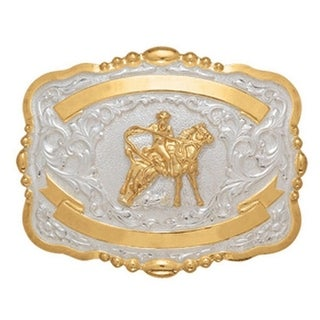 Crumrine Western Belt Buckle Boys Kids Calf Roper Gold White 384