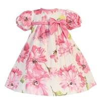 Baby Girls Pink Short Sleeve Floral Cotton Print Easter Dress 0-24M