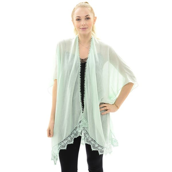 Shop Women Solid Kimono Lightweight Sheer Chiffon Poncho Cover Up Overstock 30964855