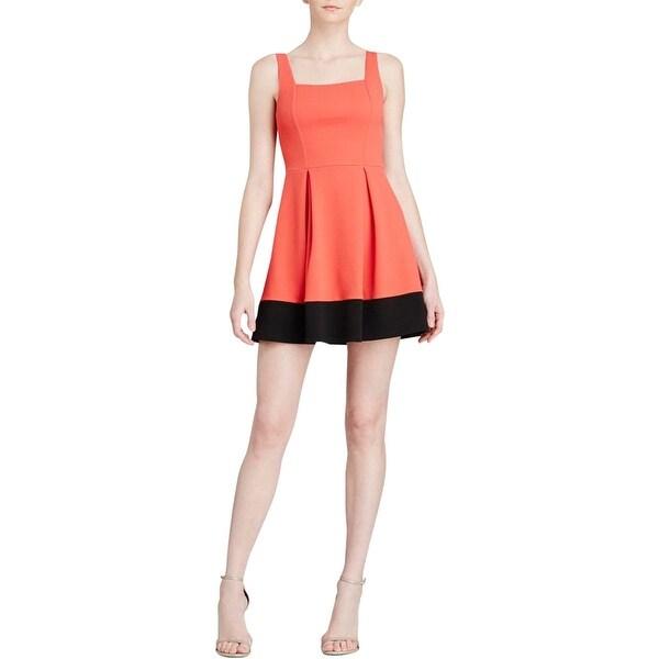 Aqua Womens Juniors Casual Dress Textured Colorblock