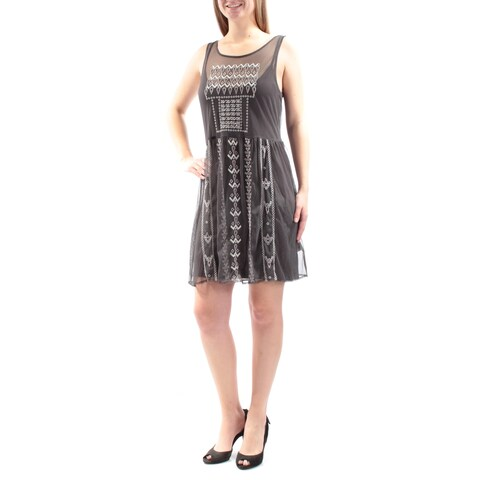 JESSICA SIMPSON Womens Gray Embroidered Sheer W/ Slip Sleeveless Scoop Neck Above The Knee A-Line Dress Size: M