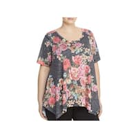 Nally & Millie Womens Plus Tunic Top Floral Print Scoopneck