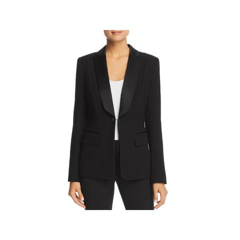 Elie Tahari Womens Lorelei Tuxedo Jacket Silk Lapel One-Button