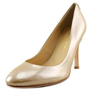 Ivanka Trump Janie Women Round Toe Patent Leather Nude Heels