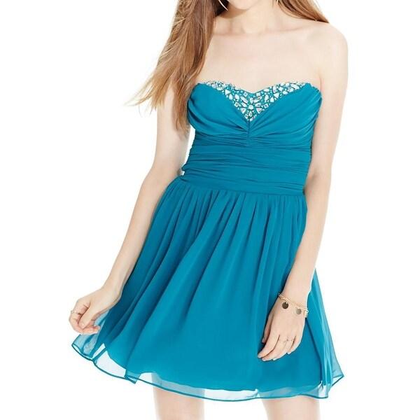 Shop B. Darlin Womens Juniors Semi-Formal Dress Chiffon Overlay ...