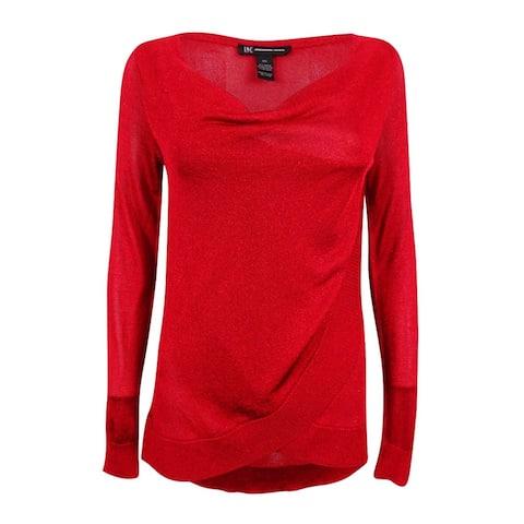 INC International Concepts Women's Draped Metallic Sweater