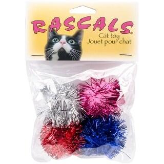 "Coastal Pet Products 80041 Rascals 1.25"" Assorted Glitter Pom Poms Cat Toys 4/Pkg -"