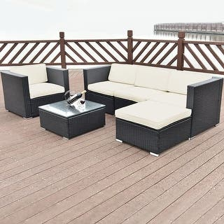 Costway 6 PC Patio Rattan Furniture Set Sectional Cushioned Seat Garden  Black Wicker. Rattan Patio Furniture   Outdoor Seating   Dining For Less
