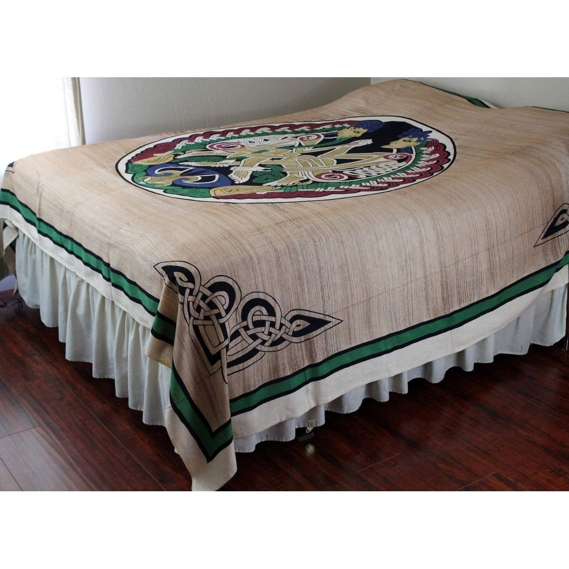 Unique Handmade 100% handloom Cotton Celtic Lovers Tapestry Tablecloth Bedspread Tan Full 88 x 106 inches - Thumbnail 0