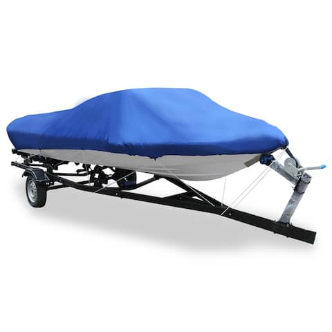 16-18ft 210D Trailerable Boat Cover Waterproof Fishing Ski Bass Speedboat V-shape Blue 570 x 300cm