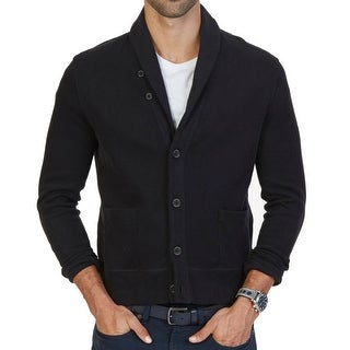 Nautica NEW Black Mens Size Large L Shawl Collar Cardigan Sweater