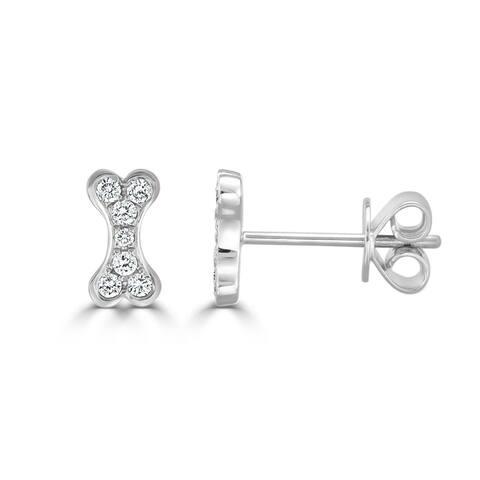 Diamond Dog Bone Earrings 14K Gold 1/7 ct. TDW by Joelle Collection