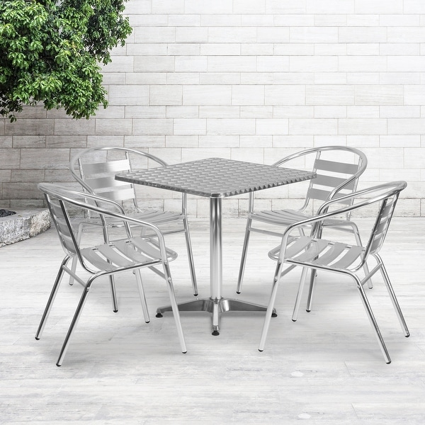 """27.5"""" Square Aluminum Indoor-Outdoor Table Set with 4 Slat Back Chairs. Opens flyout."""