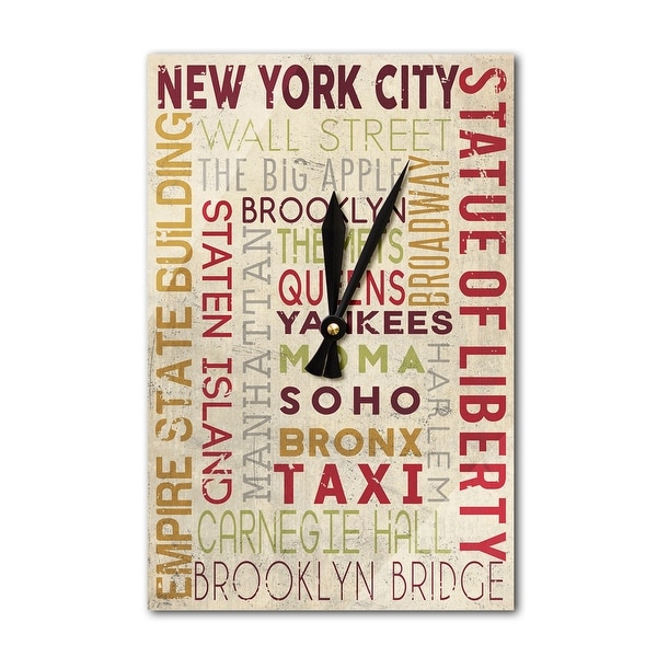 NY - Typography - LP Artwork (Acrylic Wall Clock) - acrylic wall clock