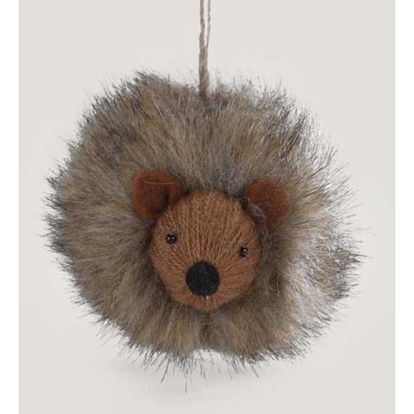 """2.75"""" Enchanted Forest Hedgehog Furry Knit Ball Christmas Ornament - brown"""
