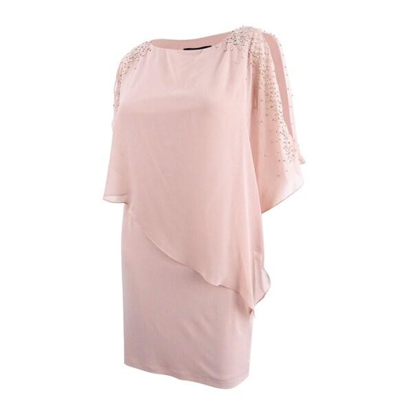 ee02b7742c4e Shop Xscape Women's Petite Capelet Sheath Dress - Blush - Free Shipping  Today - Overstock - 27279342