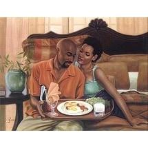 ''Breakfast in Bed'' by Henry Lee Battle African American Art Print (24 x 36 in.)
