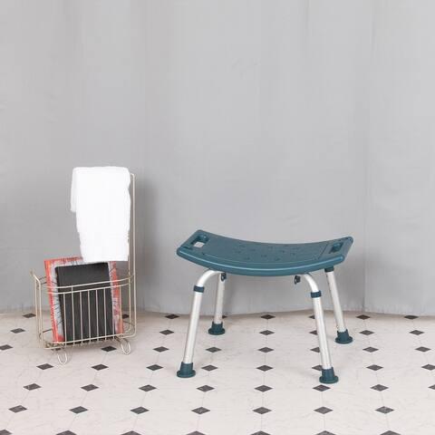 Tool-Free 300 Lb. Capacity, Adjustable White Bath & Shower Chair w/Non-slip Feet