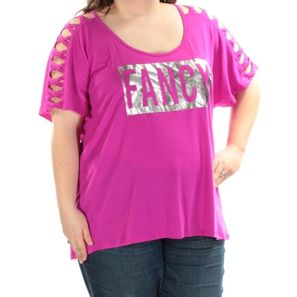 efe43d9ac73 Shop Womens Purple Fancy Short Sleeve Scoop Neck Top Size 3X - Free  Shipping On Orders Over  45 - Overstock - 21264495