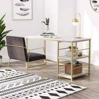 Link to Computer Desk with Storage Shelves Faux Marble Similar Items in Desks & Computer Tables