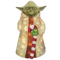 "28"" Pre-Lit Star Wars Jedi Master Yoda 3-Dimensional Soft Tinsel Christmas Display"