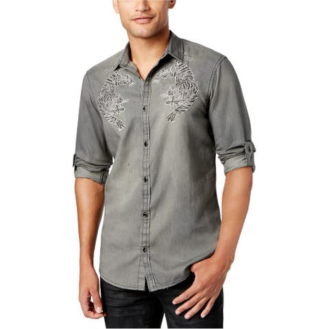 I-N-C Mens Embroidered Bengal Tiger Button Up Shirt