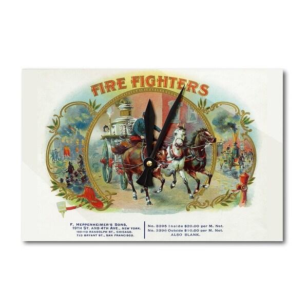 Firefighter Horse-Drawn Engine Cigar Vintage Label (Acrylic Wall Clock) - acrylic wall clock