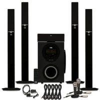 Acoustic Audio AAT3003 Bluetooth 5.1 Speaker System Optical Input Mics 5 Cables