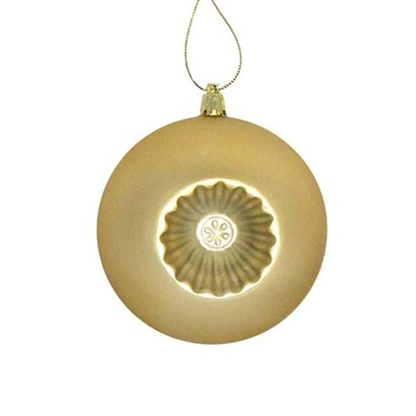 "6ct Matte Vegas Gold Retro Reflector Shatterproof Christmas Ball Ornaments 4"""